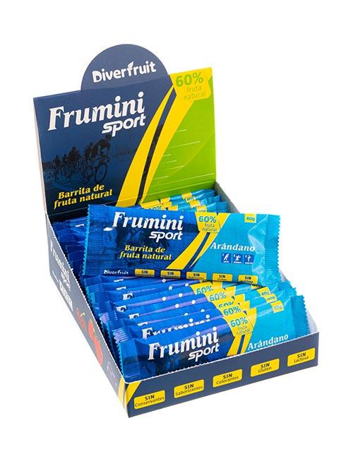 Caja de Fruminis Sport Arándano, barrita natural para deportistas