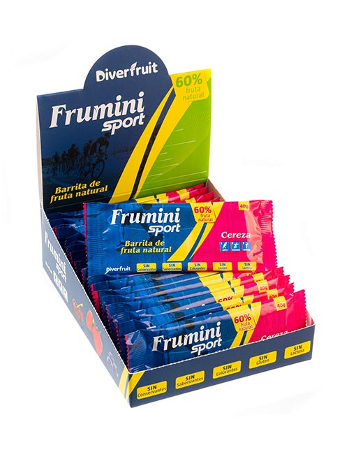 Caja de Fruminis Sport Cereza, barrita natural para deportistas